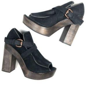 Joie 37.5 7.5 Suede Wood Black Brown Platform Heel